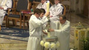 Easter 2016 Blessing Easter Candle with Easter Water