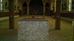 St. Pat's - Repair prep - Baptismal font covered