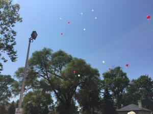 WYD - Pilgrim departure with balloons